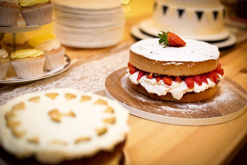 naked strawberry wedding cake