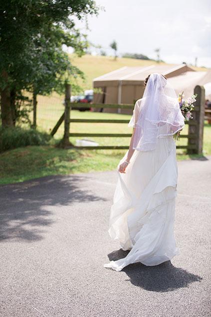 brides dress tipi wedding summer