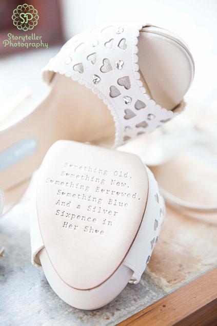 inscribed Something borrowed something blue bridal shoes