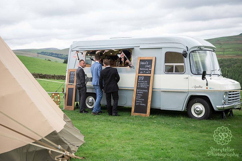 portable wedding bar in a blue van