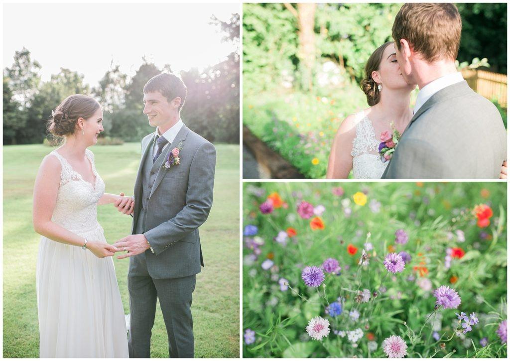 summer wedding in cheshire with newlyweds in wild flower garden
