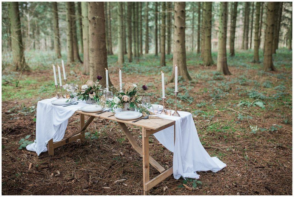 woodland wedding table decoration outdoors
