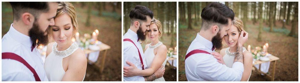 groom gently tucks brides hair behind her ear at Camp Katur, Yorkshire