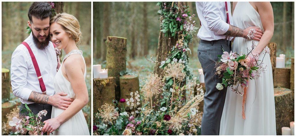 camp katur wedding alter, woodland wedding