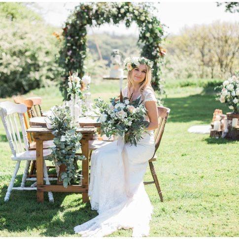 hyde bank farm wedding shoot with boho style bride